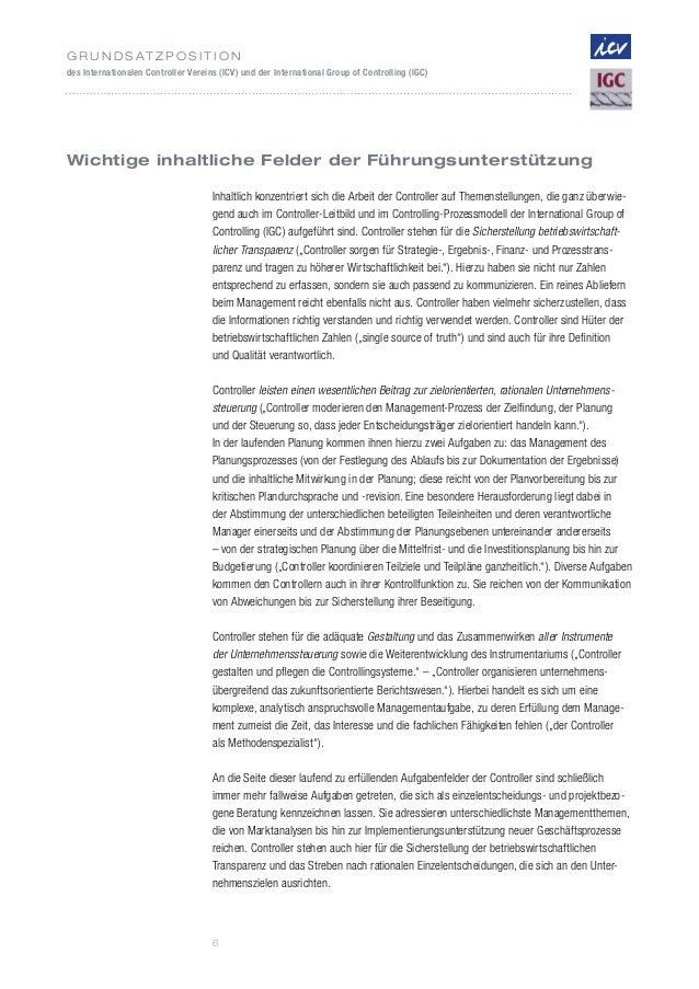 G r u n d s at z p o s i t i o ndes Internationalen Controller Vereins (ICV) und der International Group of Controlling (I...