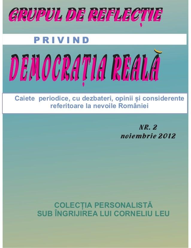 GRUPUL DE REFLECTIE                ,     PRIVINDDEMOCRATIA REALA                                           (              ...