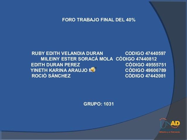 FORO TRABAJO FINAL DEL 40%RUBY EDITH VELANDIA DURAN        CODIGO 47440597    MILEINY ESTER SORACÁ MOLA CÓDIGO 47440812EDI...