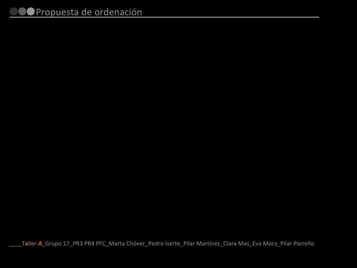 Propuesta de ordenación ____T a ller  A _Grupo 17_PR3 PR4 PFC_Marta Chóver_Pedro Iserte_Pilar Martínez_Clara Mas_Eva Mora_...