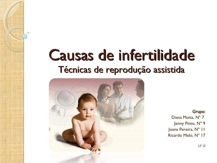 Causas de infertilidade Técnicas de reprodução assistida Grupo: Diana Moita, Nº 7  Jenny Pinto, Nº 9 Joana Pereira, Nº 11 ...