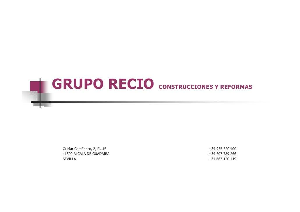 Grupo recio construcciones y reformas for Zarosan construcciones y reformas sl