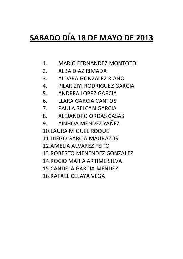 SABADO DÍA 18 DE MAYO DE 2013   1.    MARIO FERNANDEZ MONTOTO   2.    ALBA DIAZ RIMADA   3.    ALDARA GONZALEZ RIAÑO   4. ...