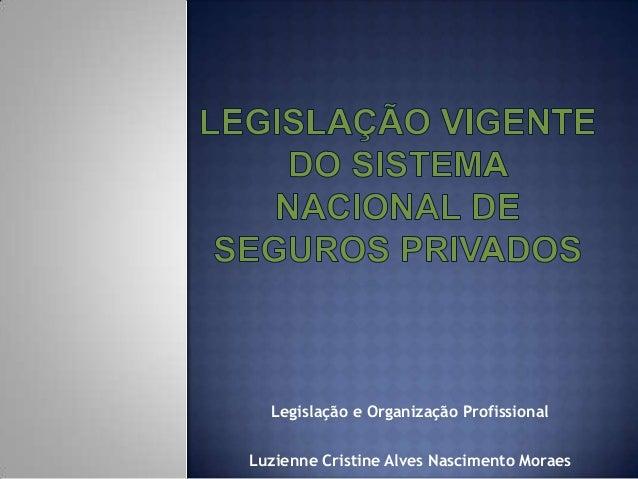 Legislação e Organização ProfissionalLuzienne Cristine Alves Nascimento Moraes