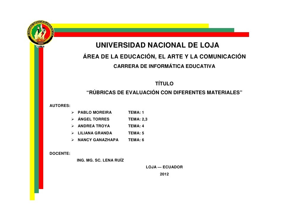 UNIVERSIDAD NACIONAL DE LOJA             ÁREA DE LA EDUCACIÓN, EL ARTE Y LA COMUNICACIÓN                            CARRER...