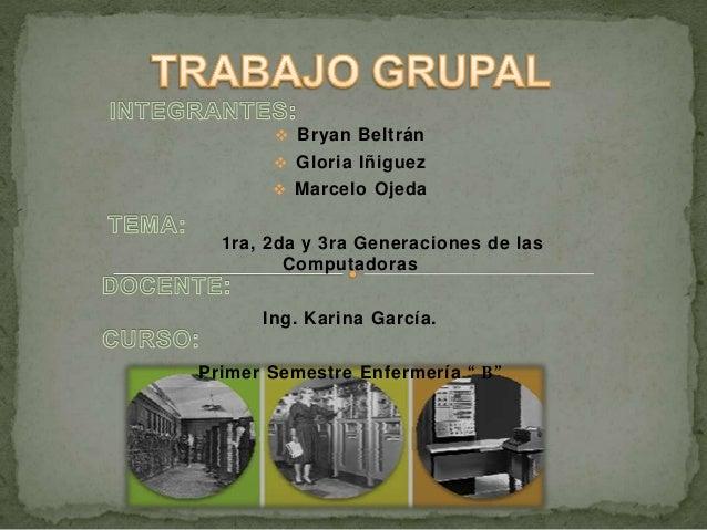  Bryan Beltrán  Gloria Iñiguez  Marcelo Ojeda 1ra, 2da y 3ra Generaciones de las Computadoras Ing. Karina García. Prime...