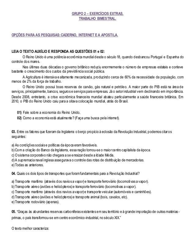 GRUPO 2 – EXERCÍCIOS EXTRAS. TRABALHO BIMESTRAL. OPÇÕES PARA AS PESQUISAS: CADERNO, INTERNET E A APOSTILA. LEIA O TEXTO AU...