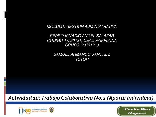 MODULO: GESTIÓN ADMINISTRATIVA PEDRO IGNACIO ANGEL SALAZAR CÓDIGO 17590121, CEAD PAMPLONA GRUPO 201512_9 SAMUEL ARMANDO SA...