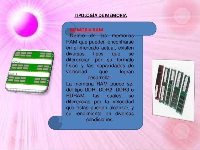 TIPOLOGÍA DE MEMORIA MEMORIA RAM Dentro de las memorias RAM que pueden encontrarse en el mercado actual, existen diversos ...