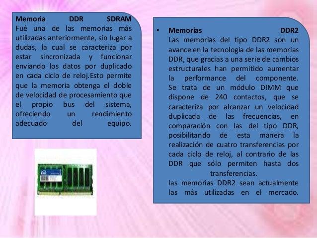 Memoria DDR SDRAM Fué una de las memorias más utilizadas anteriormente, sin lugar a dudas, la cual se caracteriza por esta...