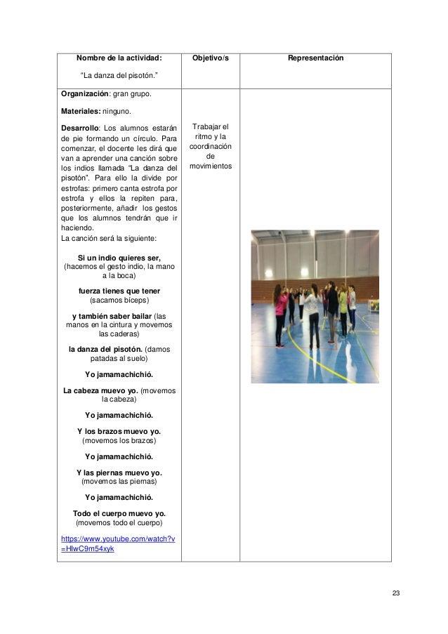 """23 Nombre de la actividad: """"La danza del pisotón."""" Objetivo/s Representación Organización: gran grupo. Materiales: ninguno..."""