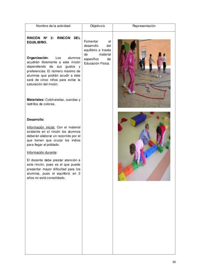 32 Nombre de la actividad: Objetivo/s Representación RINCÓN Nº 2: RINCÓN DEL EQUILIBRIO. Organización: Los alumnos acudirá...