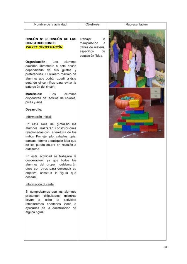 33 Nombre de la actividad: Objetivo/s Representación RINCÓN Nº 3: RINCÓN DE LAS CONSTRUCCIONES. VALOR: COOPERACIÓN. Organi...