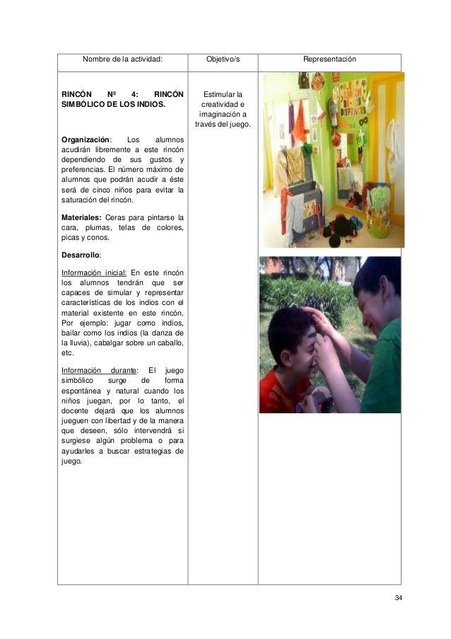 34 Nombre de la actividad: Objetivo/s Representación RINCÓN Nº 4: RINCÓN SIMBÓLICO DE LOS INDIOS. Organización: Los alumno...