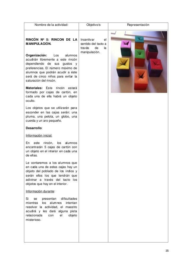 35 Nombre de la actividad: Objetivo/s Representación RINCÓN Nº 5: RINCON DE LA MANIPULACIÓN. Organización: Los alumnos acu...