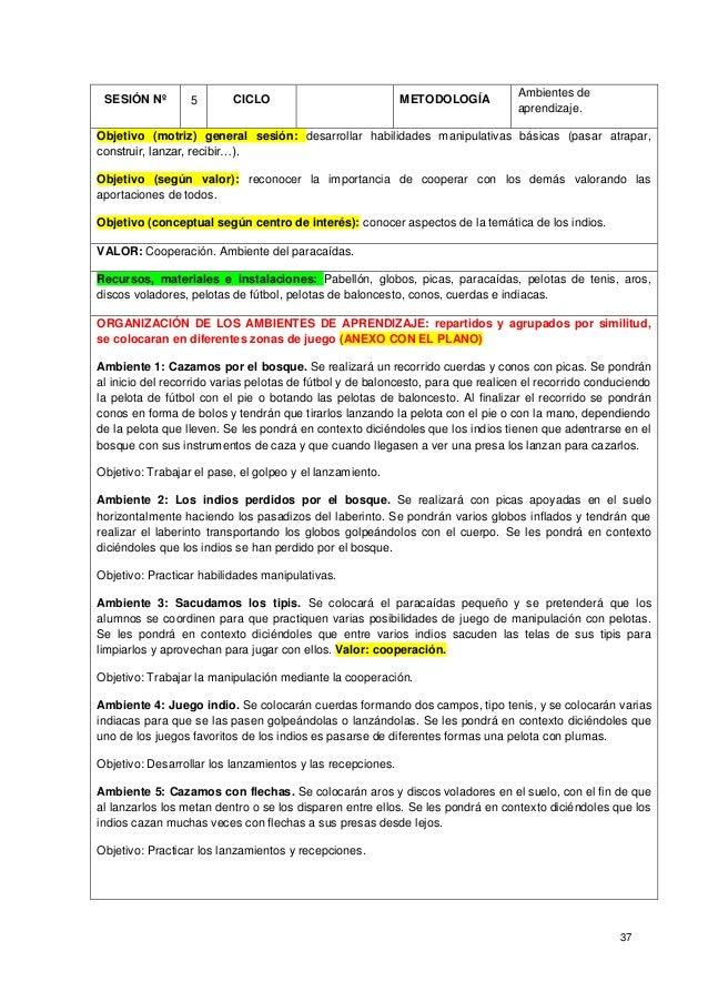 37 SESIÓN Nº 5 CICLO METODOLOGÍA Ambientes de aprendizaje. Objetivo (motriz) general sesión: desarrollar habilidades manip...