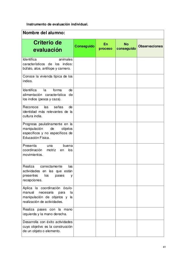 41 Instrumento de evaluación individual. Nombre del alumno: Criterio de evaluación Conseguido En proceso No conseguido Obs...