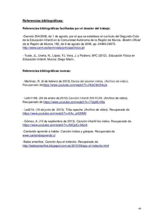 45 Referencias bibliográficas: Referencias bibliográficas facilitadas por el dossier del trabajo: -Decreto 254/2008, de 1 ...
