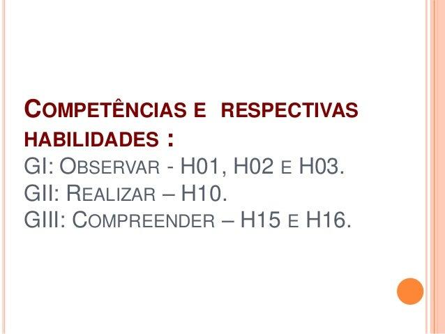 COMPETÊNCIAS E RESPECTIVASHABILIDADES :GI: OBSERVAR - H01, H02 E H03.GII: REALIZAR – H10.GIII: COMPREENDER – H15 E H16.