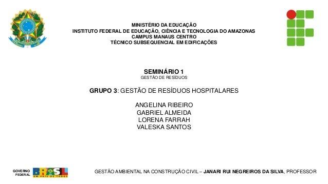 MINISTÉRIO DA EDUCAÇÃO  INSTITUTO FEDERAL DE EDUCAÇÃO, CIÊNCIA E TECNOLOGIA DO AMAZONAS  CAMPUS MANAUS CENTRO  TÉCNICO SUB...