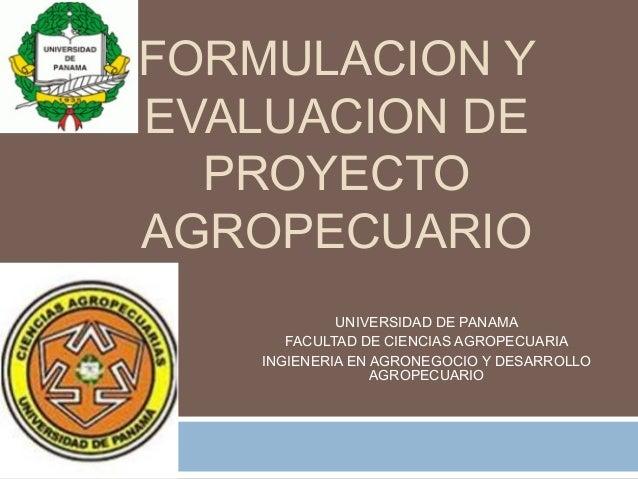 FORMULACION Y EVALUACION DE PROYECTO AGROPECUARIO UNIVERSIDAD DE PANAMA FACULTAD DE CIENCIAS AGROPECUARIA INGIENERIA EN AG...