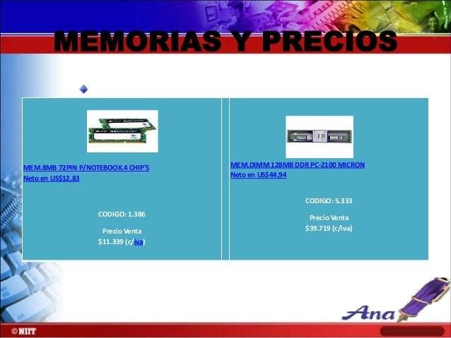 MEM.DIMM 128MB S-DRAM IBM PC-100 Neto en US$51,86  CODIGO: 2.321 Precio Venta $45.835 (c/iva)  MEM.DIMM 128MB S-DRAM INFIN...