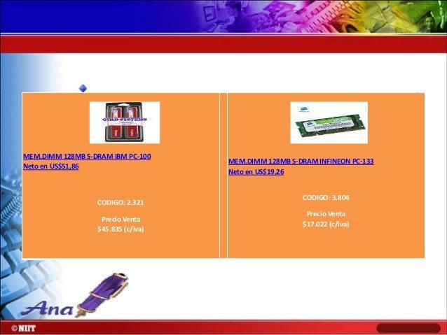 MEM.DIMM 128MB S-DRAM KINGSTON PC-133 Neto en US$23,02  MEM.DIMM 128MB S-DRAM MICRON PC-133 Neto en US$19,26  CODIGO: 4.08...