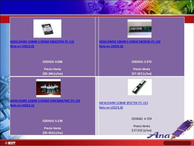 MEM.DIMM 256MB DDR PC-2100 KINGSTON 266MHZ Neto en US$81,26  MEM.DIMM 256MB DDR PC-2100 MICRON Neto en US$79,60  CODIGO: 5...
