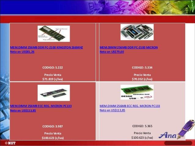 MEM.DIMM 32MB S-DRAM MICRON PC-100 Neto en US$6,32  MEM.DIMM 512MB S-DRAM MICRON PC-133 Neto en US$77,04  CODIGO: 2.103  C...