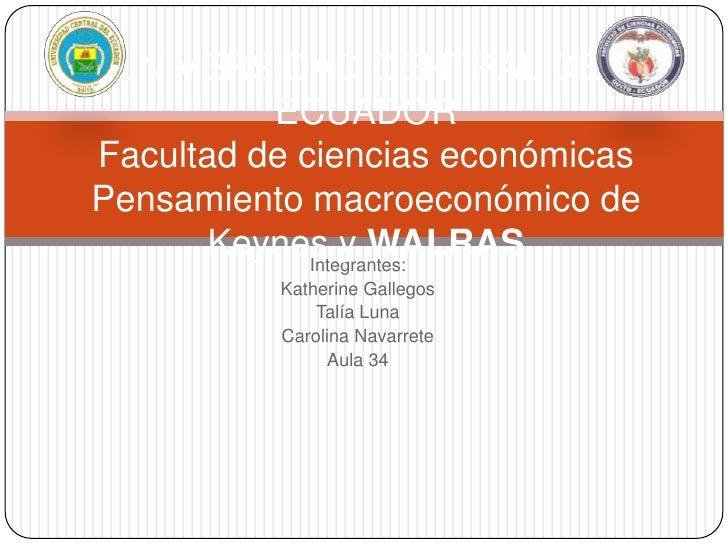 UNIVERSIDAD CENTRAL DEL          ECUADORFacultad de ciencias económicasPensamiento macroeconómico de       Keynes y WALRAS...