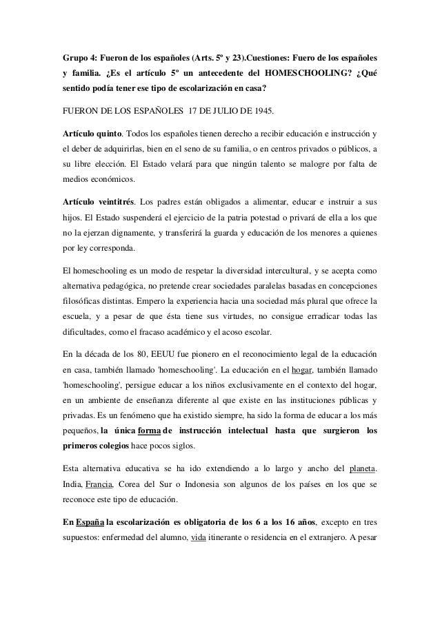 Grupo 4: Fueron de los españoles (Arts. 5º y 23).Cuestiones: Fuero de los españoles y familia. ¿Es el artículo 5º un antec...