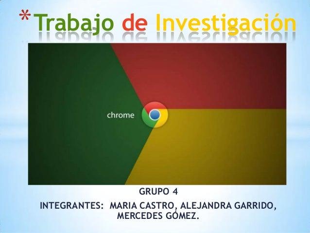 * Trabajo de Investigación  GRUPO 4 INTEGRANTES: MARIA CASTRO, ALEJANDRA GARRIDO, MERCEDES GÓMEZ.