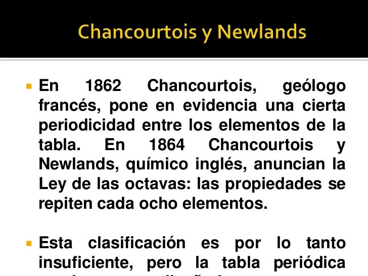 tabla peridica de los elementos qumicos - Tabla Periodica Newlands