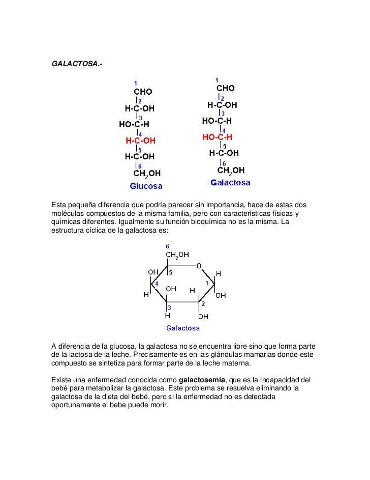 GALACTOSA.-Esta pequeña diferencia que podría parecer sin importancia, hace de estas dosmoléculas compuestos de la misma f...
