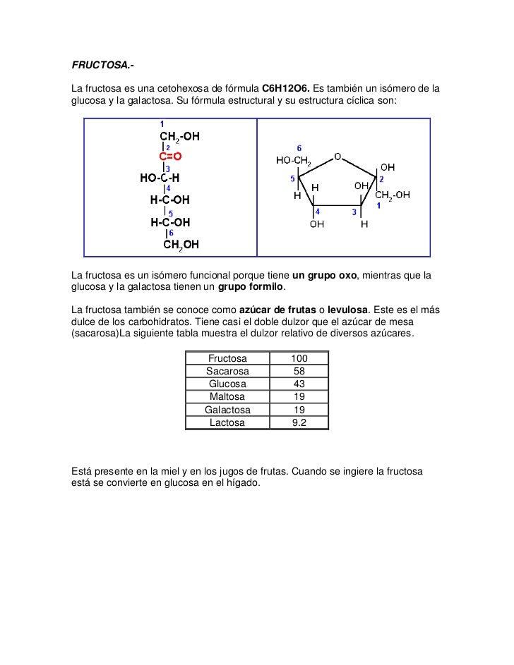 FRUCTOSA.-La fructosa es una cetohexosa de fórmula C6H12O6. Es también un isómero de laglucosa y la galactosa. Su fórmula ...