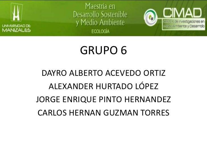 GRUPO 6  DAYRO ALBERTO ACEVEDO ORTIZ   ALEXANDER HURTADO LÓPEZJORGE ENRIQUE PINTO HERNANDEZ CARLOS HERNAN GUZMAN TORRES