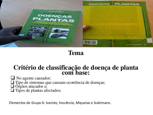Tema Critério de classificação de doença de planta com base:  No agente causador;  Tipo de sintomas que causam ocorrênci...