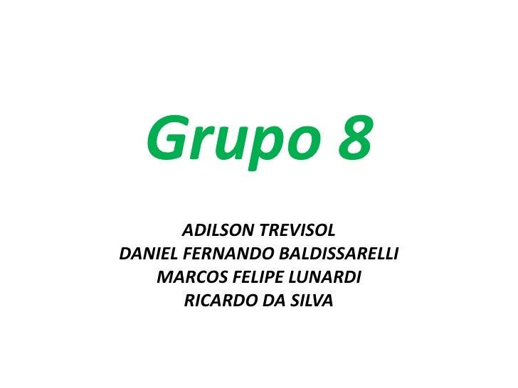 Grupo 8       ADILSON TREVISOLDANIEL FERNANDO BALDISSARELLI   MARCOS FELIPE LUNARDI       RICARDO DA SILVA
