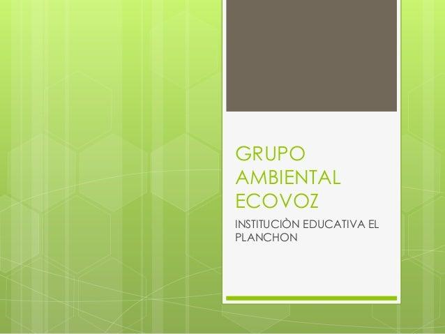 GRUPO AMBIENTAL ECOVOZ INSTITUCIÒN EDUCATIVA EL PLANCHON
