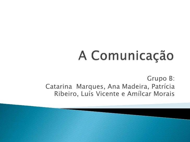 A Comunicação<br />Grupo B:<br />Catarina  Marques, Ana Madeira, Patrícia Ribeiro, Luís Vicente e Amílcar Morais <br />