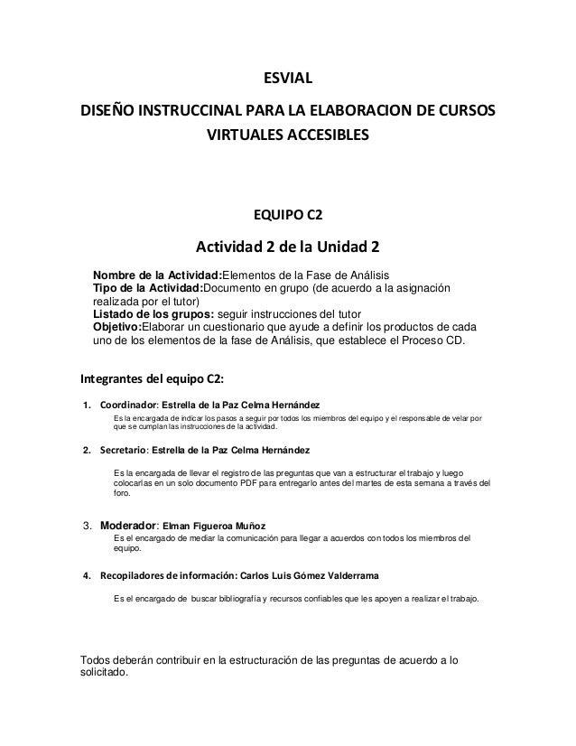 ESVIAL DISEÑO INSTRUCCINAL PARA LA ELABORACION DE CURSOS VIRTUALES ACCESIBLES EQUIPO C2 Actividad 2 de la Unidad 2 Nombre ...