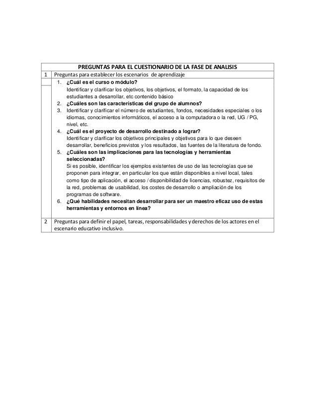 PREGUNTAS PARA EL CUESTIONARIO DE LA FASE DE ANALISIS 1 Preguntas para establecer los escenarios de aprendizaje 1. ¿Cuál e...