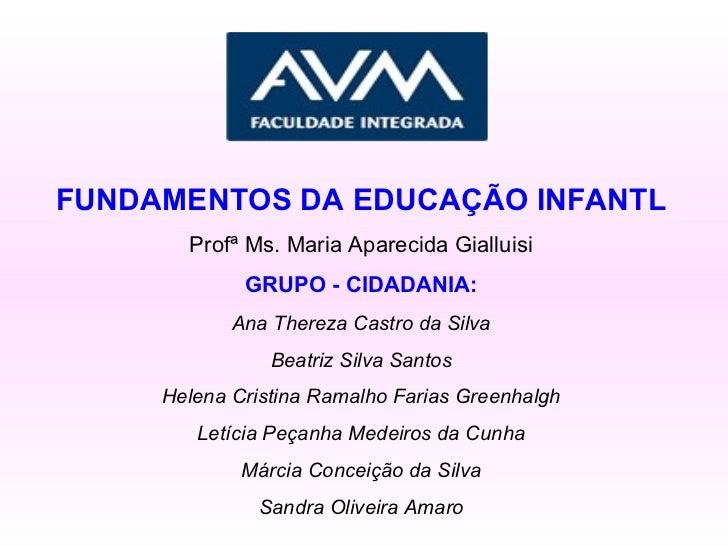 FUNDAMENTOS DA EDUCAÇÃO INFANTL Profª Ms. Maria Aparecida Gialluisi GRUPO - CIDADANIA: Ana Thereza Castro da Silva Beatriz...