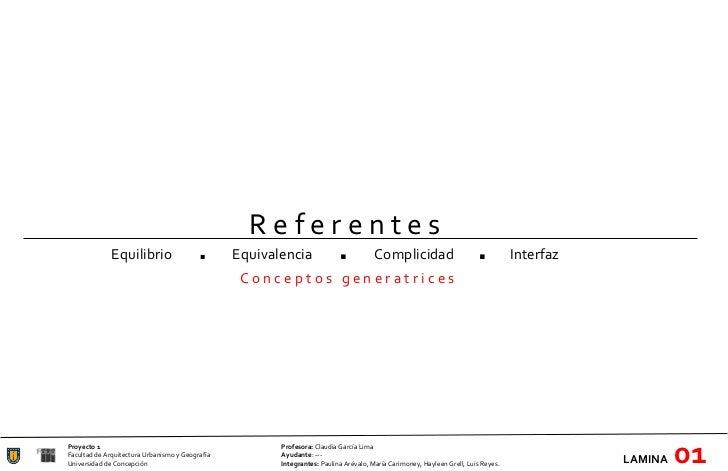 Proyecto 1 Profesora:  Claudia García Lima Facultad de Arquitectura Urbanismo y Geografía Ayudante : --- Universidad de Co...
