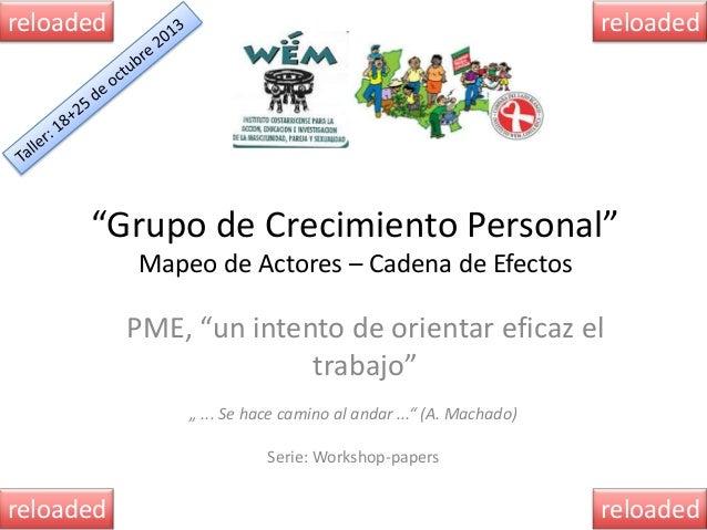 """reloaded  reloaded  """"Grupo de Crecimiento Personal"""" Mapeo de Actores – Cadena de Efectos  PME, """"un intento de orientar efi..."""