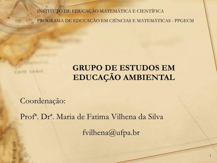 GRUPO DE ESTUDOS EM EDUCAÇÃO AMBIENTAL Coordenação:  Profª. Drª. Maria de Fatima Vilhena da Silva [email_address] INSTITUT...