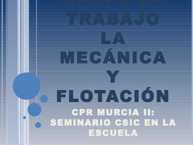 GRUPO DE TRABAJO LA MECÁNICA Y FLOTACIÓN CPR MURCIA II: SEMINARIO CSIC EN LA ESCUELA