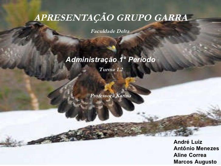 APRESENTAÇÃO GRUPO GARRA André Luiz Antônio Menezes Aline Correa Marcos Augusto Administração 1° Período Faculdade Delta  ...