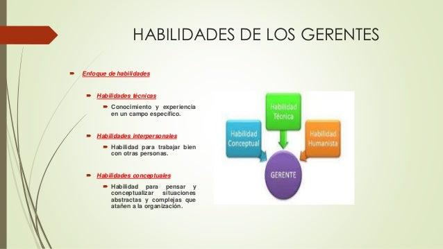 HABILIDADES DE LOS GERENTES  Enfoque de habilidades  Habilidades técnicas  Conocimiento y experiencia en un campo espec...