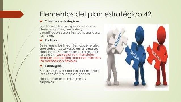 Elementos del plan estratégico 42  Objetivos estratégicos. Son los resultados específicos que se desea alcanzar, medibles...